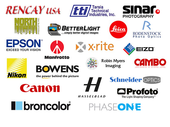 Rencay USA, TTI Tarsia Technical Industries, Sinar, NorthLight, BetterLight, Leica, Rodenstock, Epson, Manfrotto, X-Rite, Eizo, Nikon, and more.